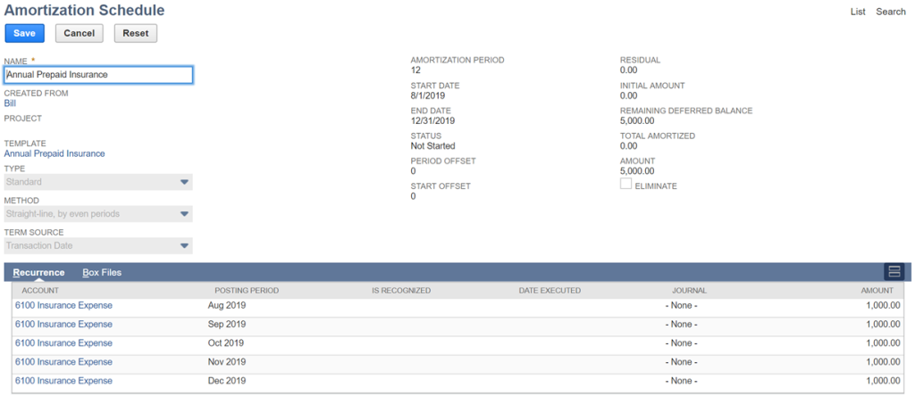 "a screenshot of ""Editing Amortization Schedules"""