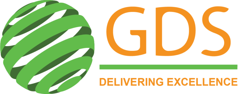 "sphere made up of green ribbons with the words ""GDS delivering excellence"", ""GDS"" in orange and ""Delivering Excellence"" in orange"