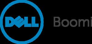 """Dell"" in a circle blue ""Boomi"" in black"