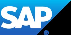 """SAP"" in blue gradient trapezoid"