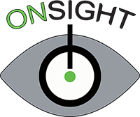 "grey eye with white eyeball with black outline and green pupil the text ""ONSIGHT"" is above the eye and a line going straight down to make an exclamation point with the pupil image is grey green white and black"