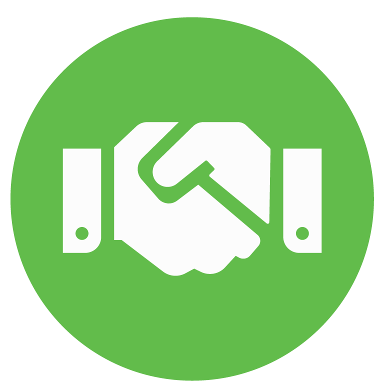 two hands, handshaking inside a green circle
