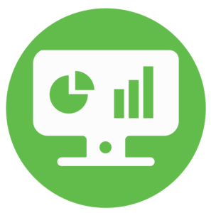 a computer monitor with a diagram and bar graph on the screen inside a green circle