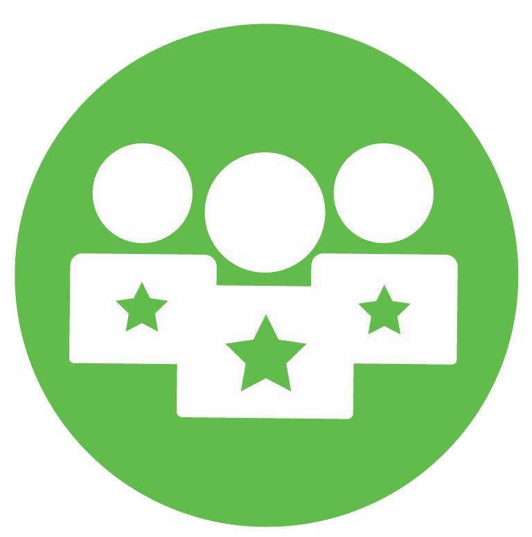 three sillhouettes of people with one star on their chest inside a green circle