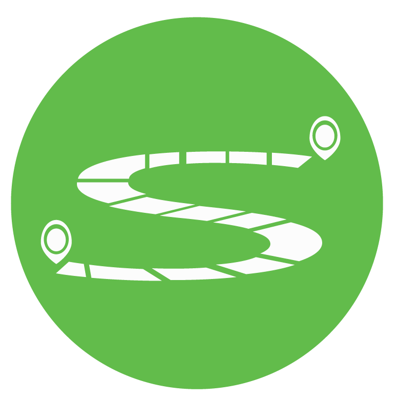 a winding road with a start and ending point within a green circle