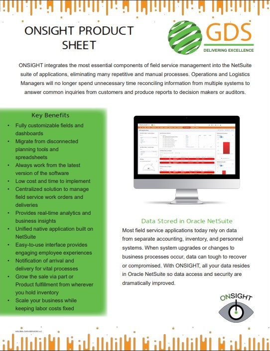 "a screenshot of a ""Onsight Product Sheet"""