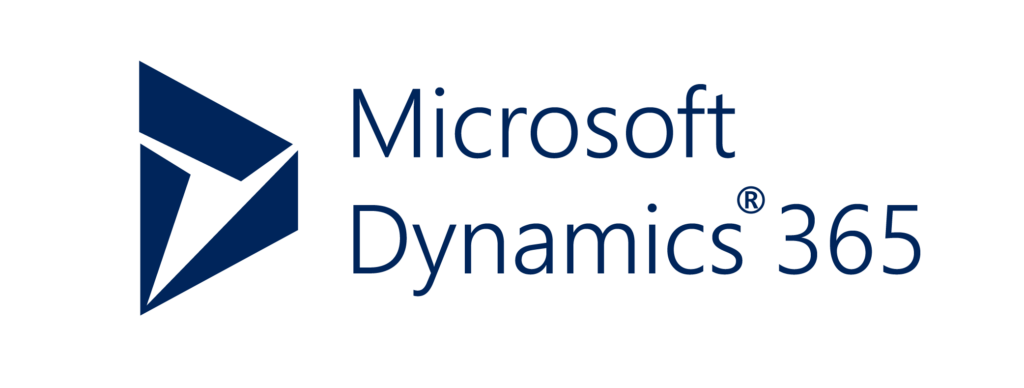 "a blue trapezoid shape next to the text, ""Microsoft Dynamics 365"""